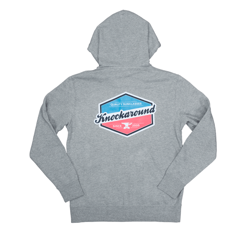 Grey hooded sweatshirt with printed design on the front