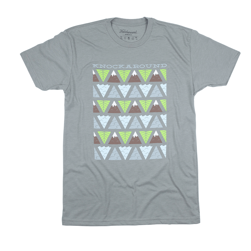 Grey t-shirt with printed design on the front