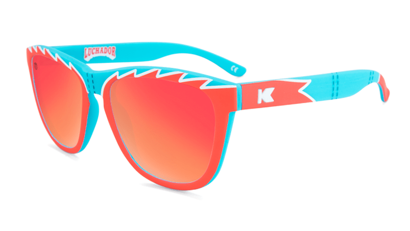 Lucha Libre themed sunglasses with red lenses