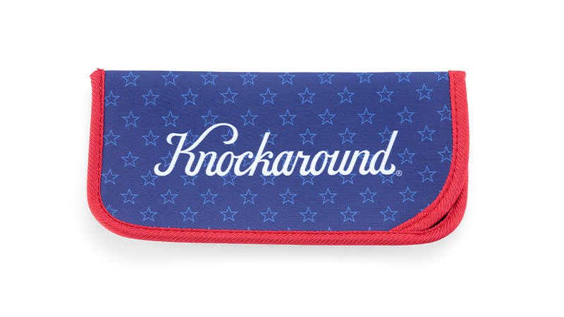 Dark blue sunglasses case with red trim