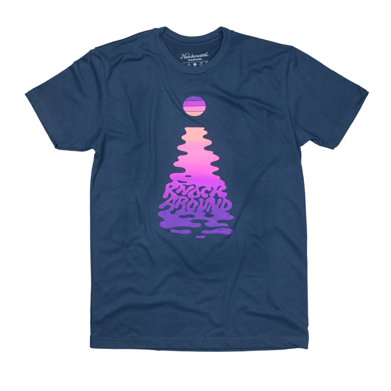 Navy Blue t-shirt with printed sunset design on the front