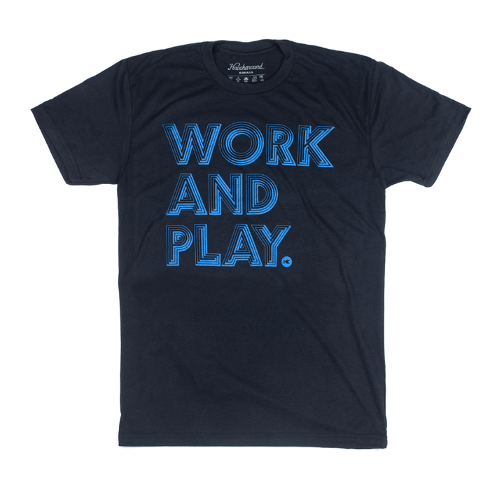 Dark Blue t-shirt with printed design on the front