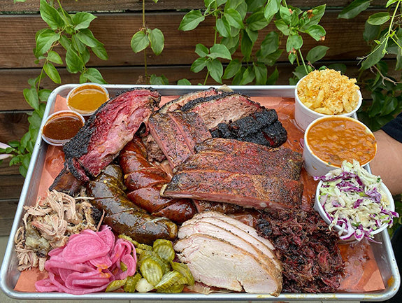 Texas style BBQ platter from Moo's Craft Barbecue