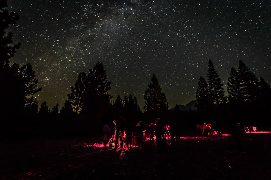 Campers stargaze near Manzanita Lake.