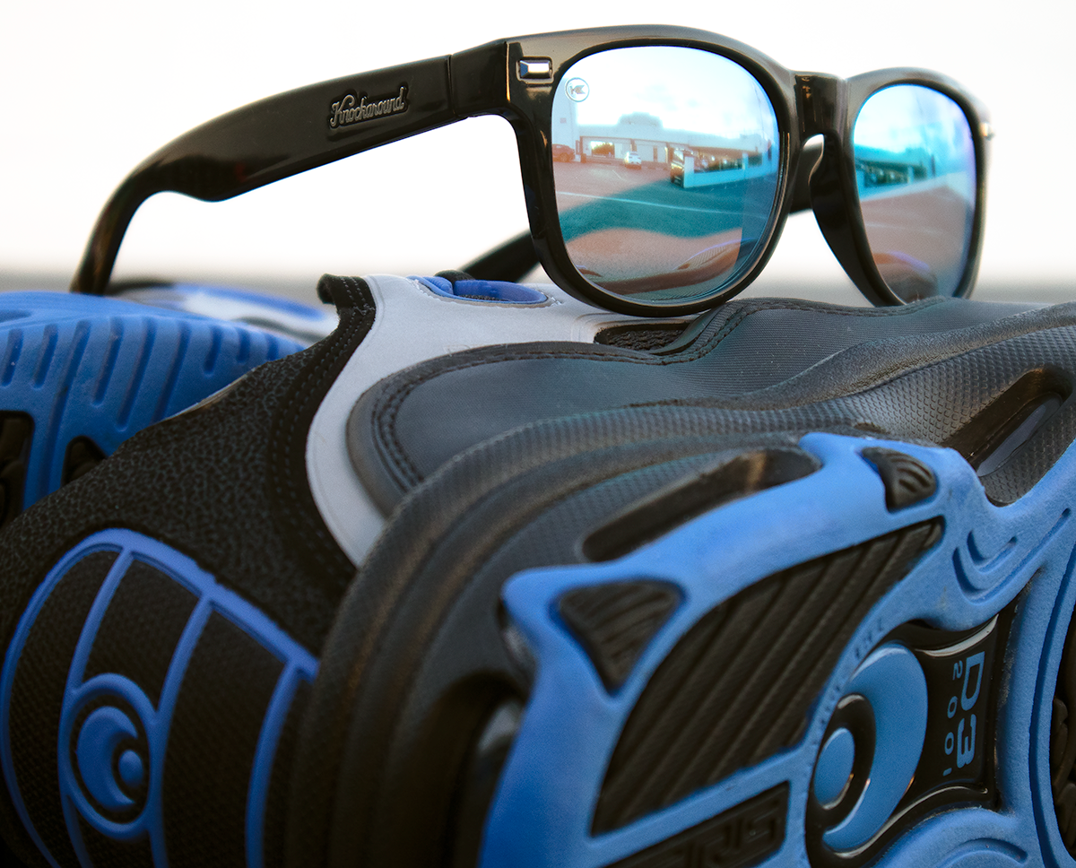 Osiris D3 shoe with Knockaround Custom Fort Knocks sunglasses