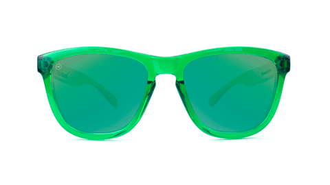 Premiums Sunglasses with Green Frames and Green Mirrored Lenses, Back