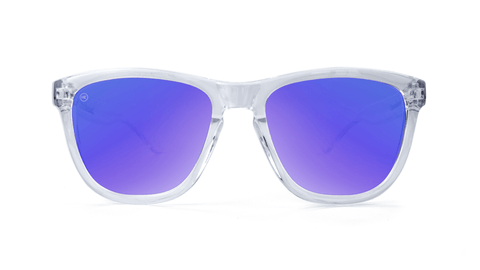 Premiums Sunglasses with Clear Frames and Blue Moonshine Mirrored Lenses, Back