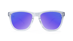 Premiums Sunglasses with Clear Frames and Blue Moonshine Mirrored Lenses, Moonshine