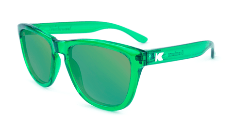 Premiums Sunglasses with Green Frames and Green Mirrored Lenses, Flyover