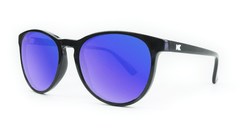 Mai Tais Sunglasses with Glossy Black Frames and Blue Moonshine Mirrored Lenses, ThreeQuarter