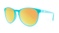 Mai Tais Sunglasses with Glossy Turquoise Frames and Yellow Sunset Mirrored Lenses, ThreeQuarter