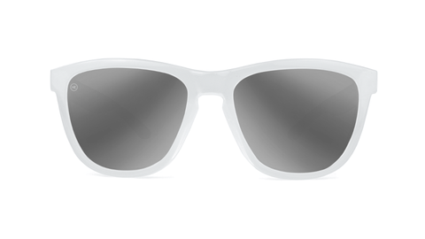 Sunglasses with White Monochrome Frame and Silver Smoke Lenses, Back