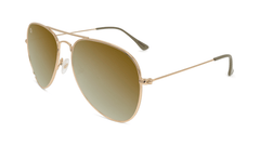 Sunglasses with Gold Metal Frame and Polarized Gold Lenses, Flyover