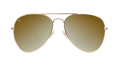 Sunglasses with Gold Metal Frame and Polarized Gold Lenses, Front