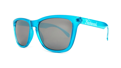 Sunglasses with Aqua Marine Blue Frames and Black Smoke Lenses, Back
