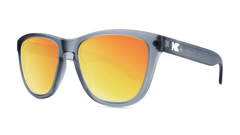 Premiums Sunglasses with Frosted Grey Frames and Red Sunset Mirrored Lenses, Three Quarter