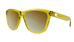 Sunglasses with Amber Monochrome Frames and Gold Lenses, Three Quarter