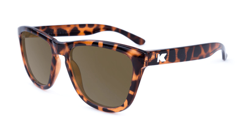 Premiums Sunglasses with Glossy Tortoise Shell Frames and Brown Amber Lenses, Flyover
