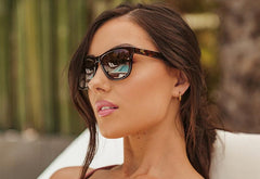 Deluxe Sunglasses with Glossy Tortoise Shell Frame and Polarized Amber Lenses, Model
