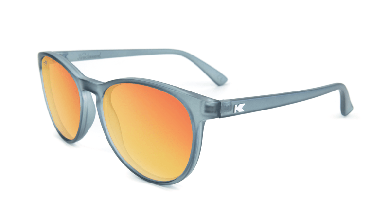 Mai Tais Sunglasses with Frosted Grey Frames and Red Sunset Mirrored Lenses, Flyover