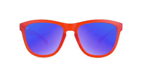Knockaround Kids Sunglasses Red Frames with Blue Moonshine Lenses, Back