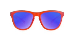 Knockaround Kids Sunglasses Red Frames with Blue Moonshine Lenses, Front