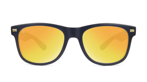 Fort Knocks Sunglasses with Matte Black Frames and Yellow Sunset Mirrored Lenses, Back