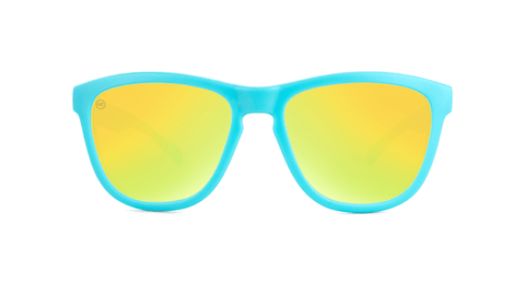 Knockaround Kids Sunglasses Matte Blue Frames with Yellow Lenses, Back