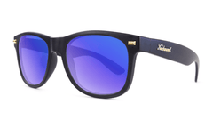 Fort Knocks Sunglasses with Matte Black Frames and Blue Moonshine Mirrored Lenses, Threequarter