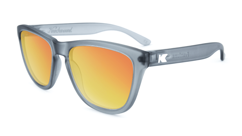 Premiums Sunglasses with Frosted Grey Frames and Red Sunset Mirrored Lenses, Flyover