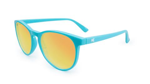Mai Tais Sunglasses with Glossy Turquoise Frames and Yellow Sunset Mirrored Lenses, Flyover