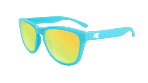 Knockaround Kids Sunglasses Matte Blue Frames with Yellow Lenses, Flyover