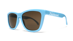 Classics Bio-Based Sunglasses with Cornflower Blue Frames and Brown Amber Lenses, ThreeQuarter