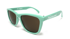 Classics Bio-Based Sunglasses with Seafoam Green Frames and Brown Amber Lenses, Flyover