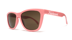 Classics Bio-Based Sunglasses with Rose Pink Frames and Brown Amber Lenses, ThreeQuarter