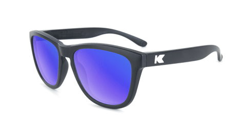 Knockaround Kids Sunglasses Black Frames with Blue Moonshine Lenses, Flyover