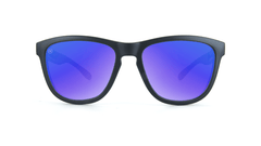 Knockaround Kids Sunglasses Black Frames with Blue Moonshine Lenses, Front