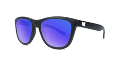 Knockaround Kids Sunglasses Black Frames with Blue Moonshine Lenses, Threequarter