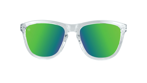 Knockaround Kids Sunglasses Clear Frames with Green Lenses, Back