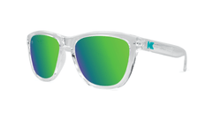 Knockaround Kids Sunglasses Clear Frames with Green Lenses, Threequarter