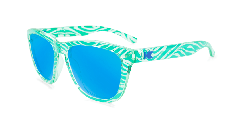 Kids sunglasses with Mint Zebra Frames and Aqua Lenses, Flyover