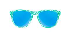 Kids sunglasses with Mint Zebra Frames and Aqua Lenses, Front
