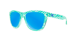 Kids sunglasses with Mint Zebra Frames and Aqua Lenses, Threequarter