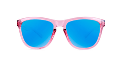 Knockaround Kids Sunglasses Pink Frames with Aqua Blue Lenses, Front