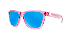 Knockaround Kids Sunglasses Pink Frames with Aqua Blue Lenses, Threequarter