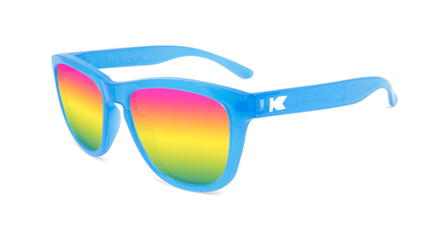 Kids Sunglasses with Glossy Blue Frame and Rainbow Lenses, Flyover