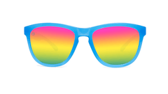 Kids Sunglasses with Glossy Blue Frame and Rainbow Lenses, Front