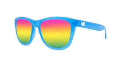 Kids Sunglasses with Glossy Blue Frame and Rainbow Lenses, Threequarter