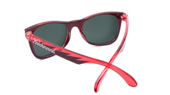 Kids Sunglasses with Black and Red Frames and Green Moonshine Mirrored Lenses, Back
