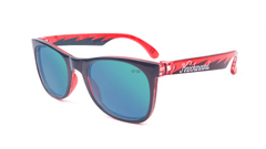 Kids Sunglasses with Black and Red Frames and Green Moonshine Mirrored Lenses, Flyover